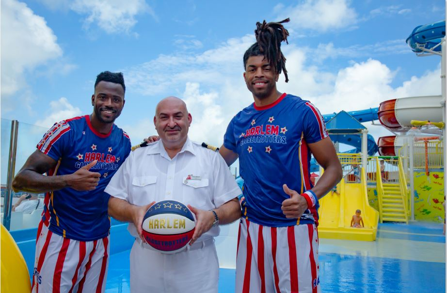 Carnival Horizon Hotel Director Pierre Camilleri with the Harlem Globetrotters.